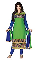 Meghali Women's Cotton Unstitched Salwar Suit (MGAY0D04_Green Blue_Free Size)