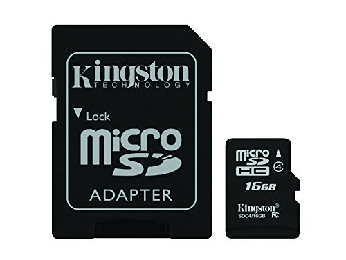 Kingston Digital 16 GB Class 4 microSDHC Flash Card with SD Adapter (SDC4/16GB) (Mini Sd Card 16gb compare prices)