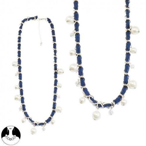 sg paris women necklace long necklace 70cm old silver cream pearl blue metal/enamel/strass