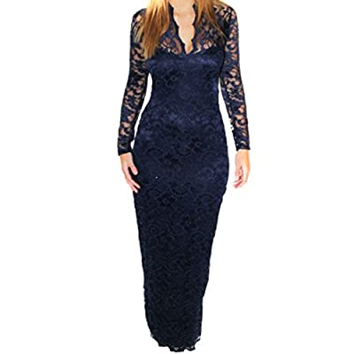 ETANG Women's V-Neck Slim Long Sleeve Party Wedding Lace Dress