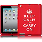 Apple iPad 3 Red/White Keep Calm & Carry On Lasered Silicone Skin Case / Cover / Shell Part Of The Qubits Accessories Rangeby Qubits