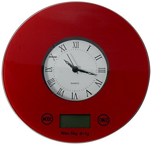IFRESH Digital Kitchen Scale with Quartz Clock, Red by iFresh