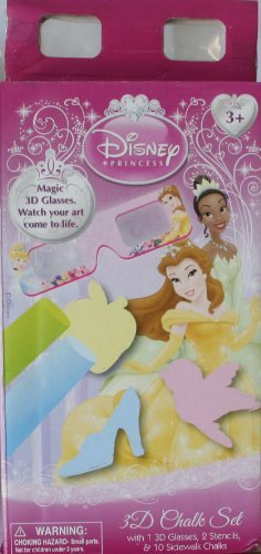 Disney Presents Disney Princess 3D Chalk Set - 3D Glasses, 2 Stencils, & 10 Sidewalk Chalks - 1