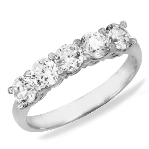 14K White Gold Prong Set 5 Five Stones Round CZ Cubic Zirconia Bridal Wedding Anniversary Ring Band 1.75ct