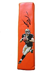 New Orleans Saints Drew Brees Autographed Custom Photo Football End Zone Pylon, Proof Photo