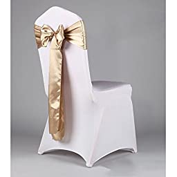 WCAN 50 pieces 6 x 108 Inch ( 17 x 275cm ) Champage Satin Chair Sash Ribbon Bows for Wedding Party Chair Decoration
