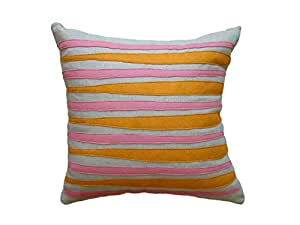 Balanced Design Morris Applique Oatmeal Linen Fabric Pillow, 16 by 16 Inch, Spice/Rose available at Amazon for Rs.20505