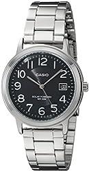 Casio Unisex MTP-S100D-1BVCF Solar Easy-To-Read Silver-Tone Watch