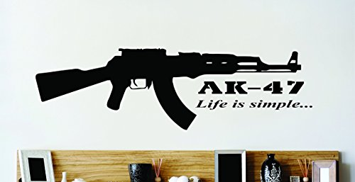 Design With Vinyl Zzz 285 2 Decor Item Ak - 47 Life Is Simple Gun War Quote Wall Sticker Decal, 16-Inch X 24-Inch, Black