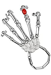 Fashion Punk Skeleton Hand Fingers Skeleton Bracelet Ring Silver