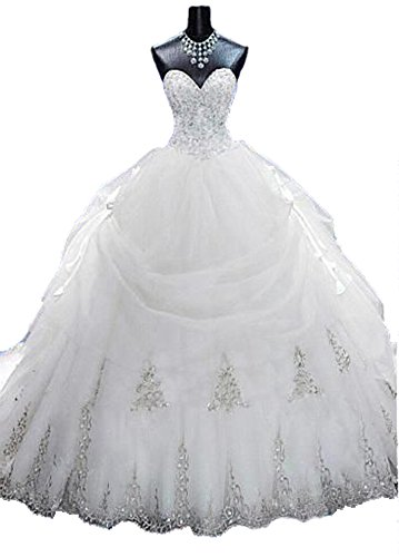 Buying Guide: Lovelybride Gorgeous Beaded Gold Appliques Puffy Wedding Ball Gown with Long Train (10, White)