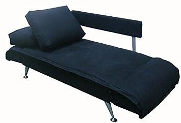 5.5.4.5.2775: modernes Sofa mit abklappbaren Armlehnen - Gästesofa - als Schlafsofa nutzbar - Jugend-Kinder-Sofa - Bezug schwarz