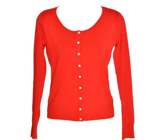 Hip Hop 50'S Shop Ladies 50'S Vintage Style Sweater/Cardigan (Small, Red)