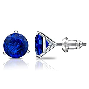14k White Gold 3-Prong Martini Round Blue Sapphire Gemstone Stud Earrings (1/3 cttw)