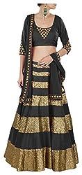 Devikrupa fashion Women's Georgette Unstitched Lehenga Choli (Black)