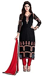Manvaa Esthetic Black Georgette Embroidered Dress Material-KFN04