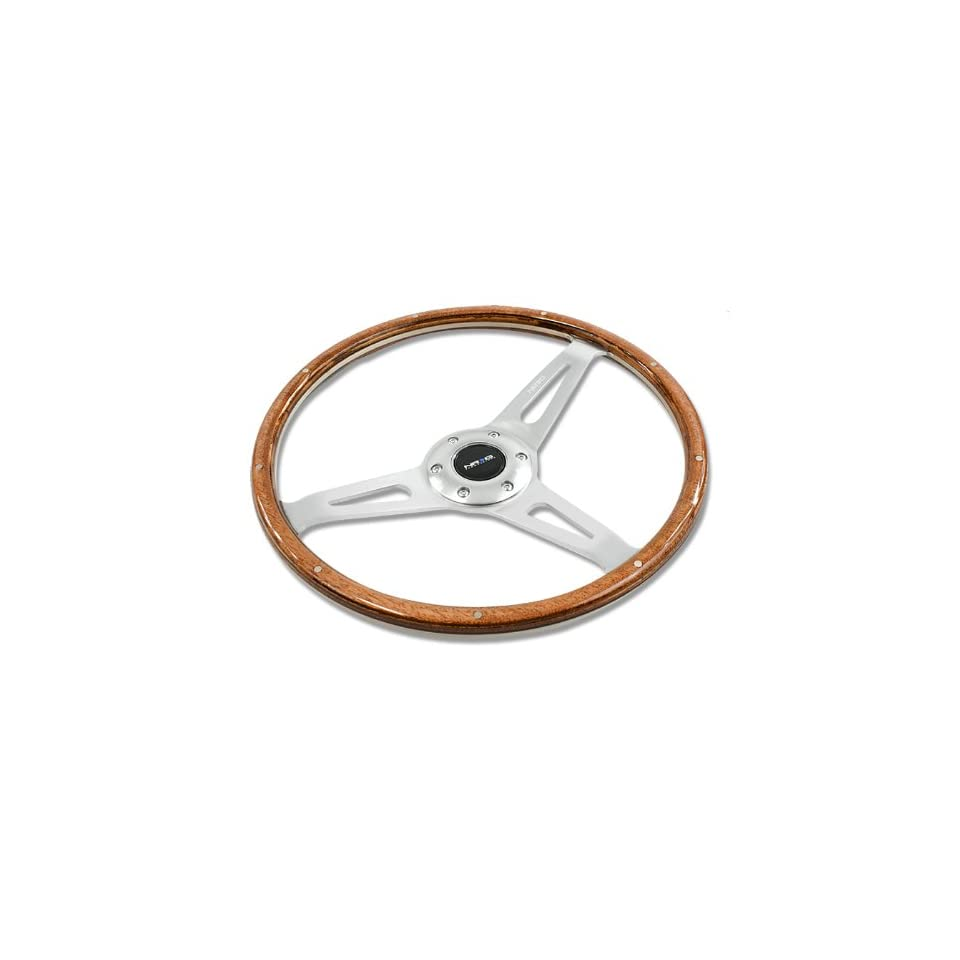 NRG Innovations, ST 065, 365mm 6 Hole Wood Grain Large Racing Steering Wheel Polish Aluminum Rivet with Horn Button ST 065