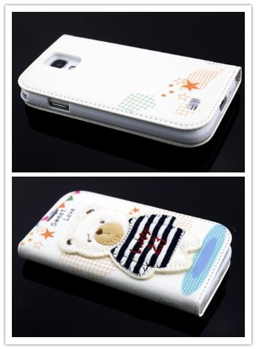 Big Dragonfly New Arrivals Eco Skin Cute 3D Pattern Folio Pu Leather Case With Cover For Samsung Galaxy S4 I9500 With Built-In Stand, Card Slots And Two Tiny Suction Cups Retail Package(Big Black & White Stripe T-Shirt Bear Sweet Love) White front-1042145