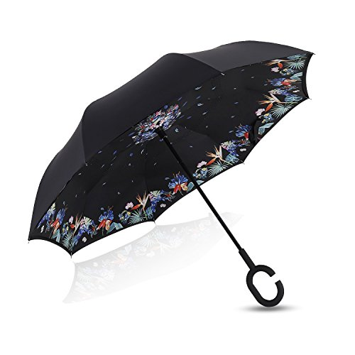 Double Layer Inverted Umbrella Cars Reverse Umbrella, Elover Windproof UV Protection Big Straight Umbrella for Car Rain Outdoor With C-Shaped Handle and Carrying Bag (Purple Flower) (Electric Umbrella compare prices)