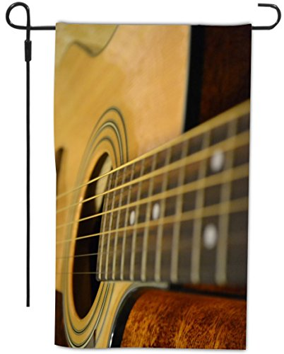 Rikki Knighttm Acoustic Guitar Design Decorative House Or Garden Flag 12 X 18 Inch Full Bleed (Proudly Made In The Usa)