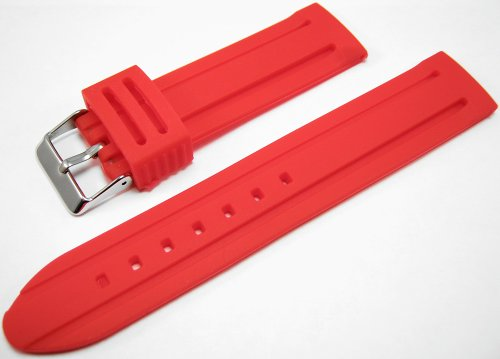 Red Silicone Watch Strap Band 22mm