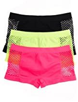 Cotton Cantina Juniors 3 Pack Nylon/spandex Panties with Fishnet Cut Panels (Large/X-Large, Neon Coral/Neon Lime/Black)