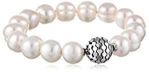 """Honora """"Times Square"""" White Freshwater Cultured Pearl 7.75"""" with Magnetic Closure Strand Bracelet"""
