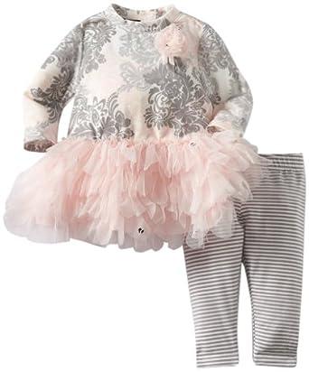 Kate Mack Baby-Girls Newborn Belle Epoque Tunic Stripe Legging, Pink, 0-3 Months