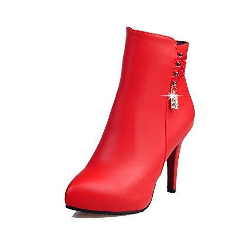 VogueZone009 Donna Chiodato Tacco Alto Scarpe A Punta Luccichio Cerniera Stivali con Metallo, Rosso, 35