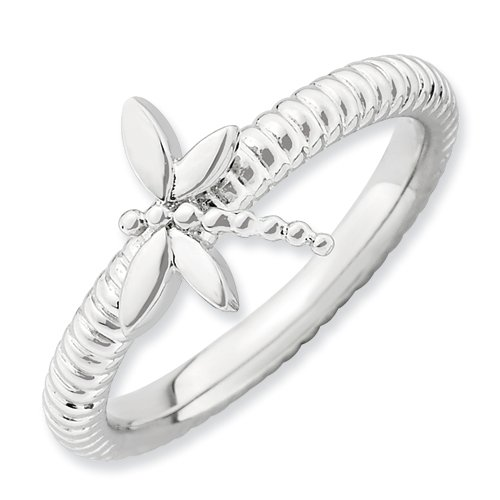 Genuine IceCarats Designer Jewelry Gift Sterling Silver Stackable Expressions Dragonfly Ring Size 7.00