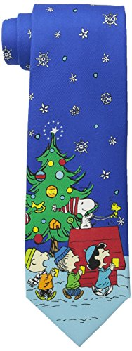 Peanuts Men's Christmas Snoopy On The Roof with Tie, Navy, One Size