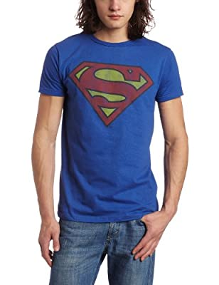Bioworld Men's Superman Logo Tee, Royal Blue, X-Large