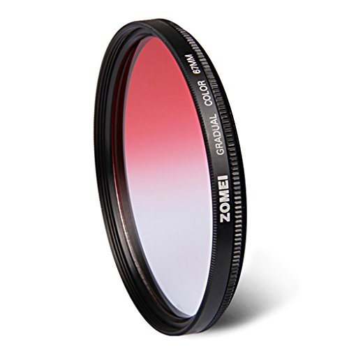 DELLT- Round Gradual Mirror Red 55/58/67/72 / 77mm SLR Filtre Camera Lens Filter ( taille : 67mm )