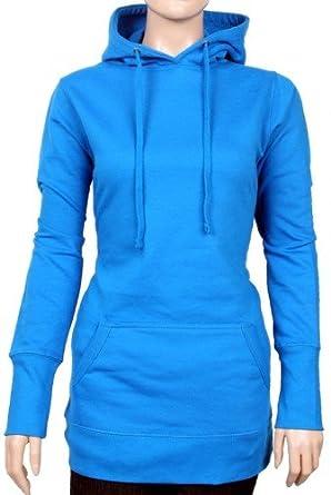 long hoodie sweatshirt mit kapuze damen diverse farben. Black Bedroom Furniture Sets. Home Design Ideas