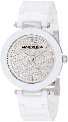 Anne Klein Women's AK/1019PVWT Ceramic Silver-Tone Pave Dial Watch