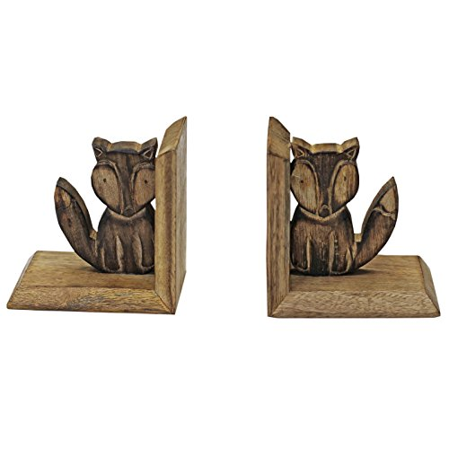 Hand Carved Wooden Fox Book Ends - Vintage Animal Figure Ornament Book Display Brown 11.5 x 12 x 9.5 cm