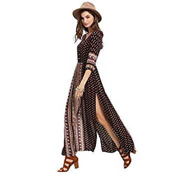 ROMWE Women's Summer Casual Half Sleeve Vintage Print Split Maxi Dress