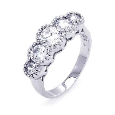 Five Round Cubic Zirconia Sterling Silver Wedding Ring, Includes Free Gift Box and Pouch. (10)