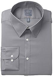 Arrow Men\'s Stretch Slim Fit Solid Point Collar Dress Shirt, Slate, Large/16\