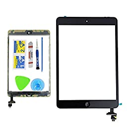 Monkey Black Replacement Screen Touch Screen Digitizer For iPad Mini1 &2 With IC Chip Home Button and Flex Cable Assembly+Tool kit