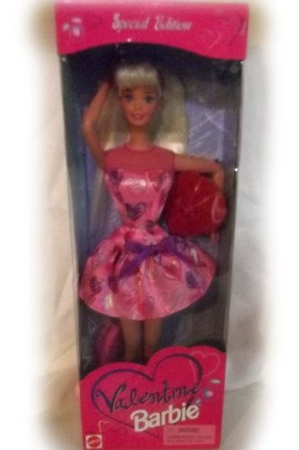 Barbie 1997 Special Edition 12 Inch Tall Valentine Barbie Doll with Dress, Candy Box, Shoes, Hair Ribbon and Hair Brush - 1