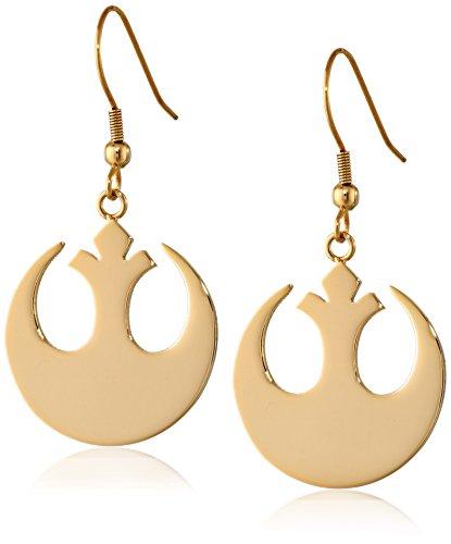 Star Wars Jewelry Rebel Alliance Gold IP Stainless Steel Dangle Hook Drop Earrings (Rebel Alliance Star Wars)