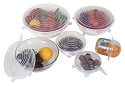 Silicone lid set of 6 reusable container replacement stretch lids from SPIN's Premium durable & expandable to fit various sizes, High Quality kitchen gadget and dishwasher, freezer and microwave safe