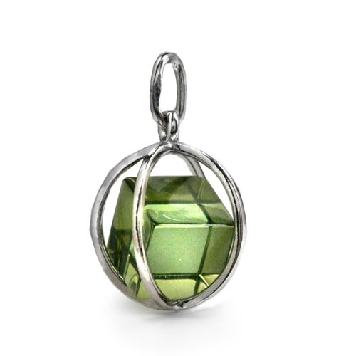 Millennium Collection Green Amber Sterling Silver Contemporary Spherical Cube Pendant