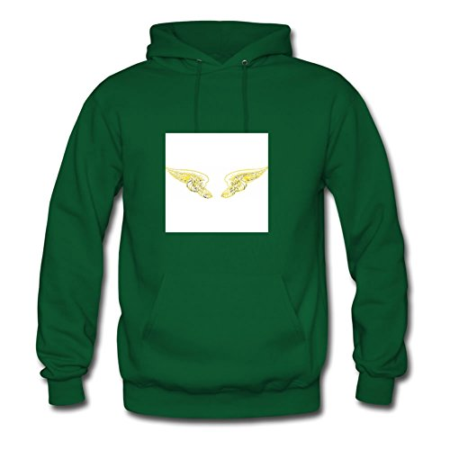 Round-collarclothing Men Angel Wings Yellow Painting Hoody (,green)