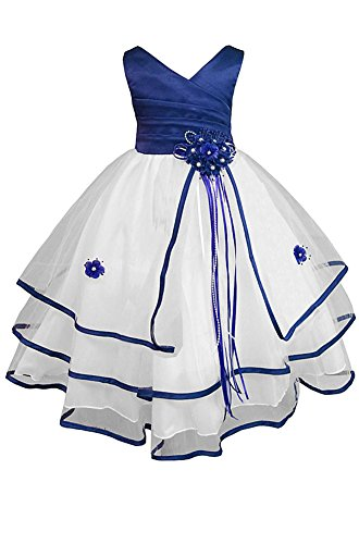 Amj Dresses Inc Big Girls Royal Blue Flower Pageant Dress Size 10