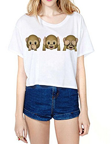 Uideazone Teen Girls Funny Crop Top Emoji Monkey Casual Tee T-shirt,c8,One Size (Teenagers Clothes compare prices)