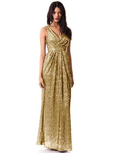 Miss Mint Women's Sleeveless Deep V Neck Sequined Evening Gown Ruched Bodice (10, Gold)