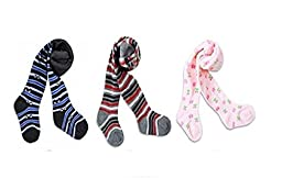3-Pack Bomio Toddlers Baby Boys Girls Cotton Warm Tights, Various Combinations and Sizes Available, Ships from U.S (6-12 Months, Half Striped-Striped-Floral)