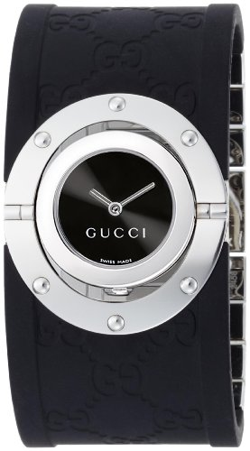 Gucci Women's YA112420 Twirl Medium Steel and Black Rubber Bangle Watch